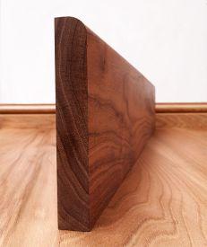 Round Edge Solid Walnut Skirting Board