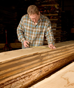measuring waney edged sawn oak
