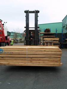 Neil with timber delivery on forklift