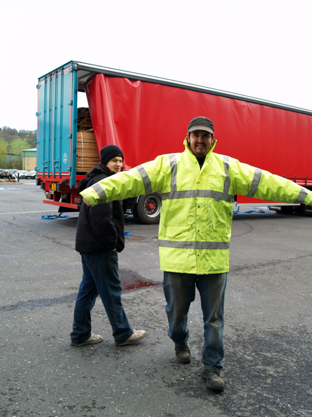 warming up before unloading timber from lorry