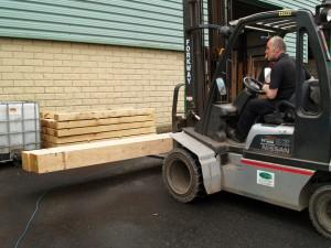 Unloading oak beams