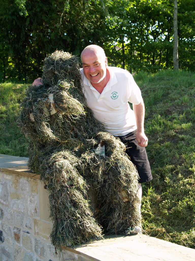 James in ghillie suit with Mark