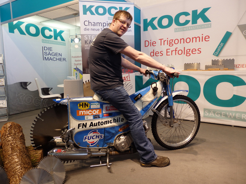 Flooring machinist, Jason Fearnley, trialling an innovative motorbike ...