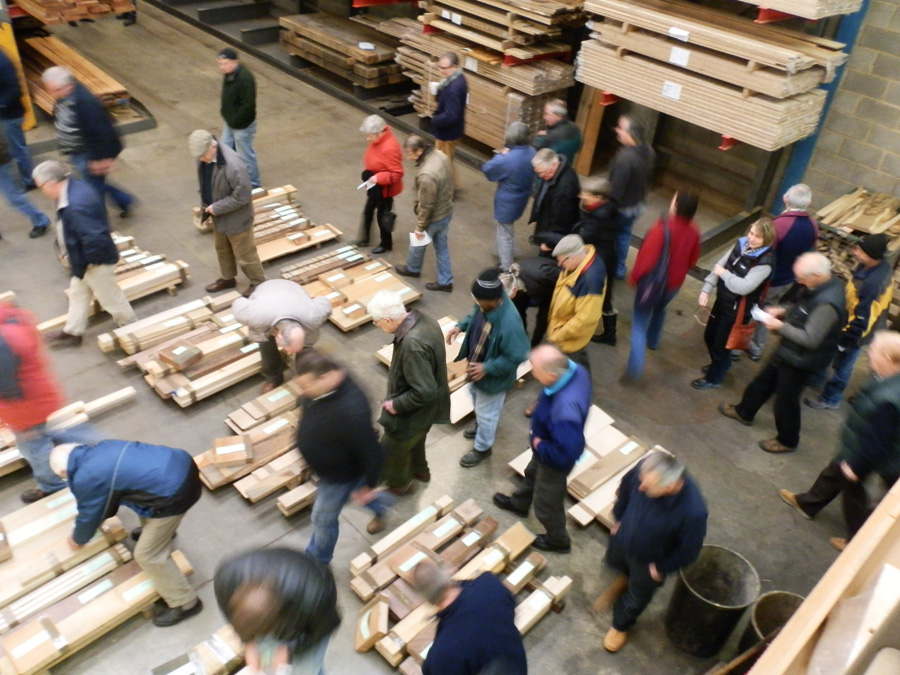Happy customers browsing through the lots of timber at the British Hardwoods Annual Timber Sale 2012