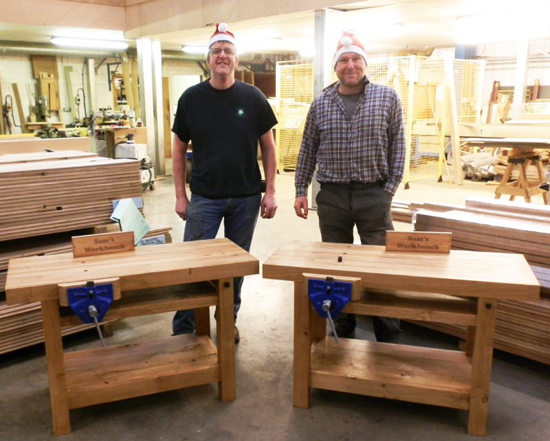 Tony and Jason with the solid oak workbenches