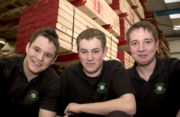 Three former apprentices - now valued members of the British Hardwoods team