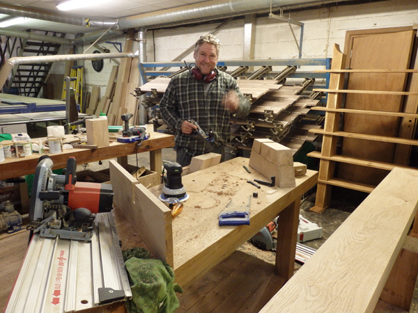 Tony hard at work making the beautiful oak bench seats