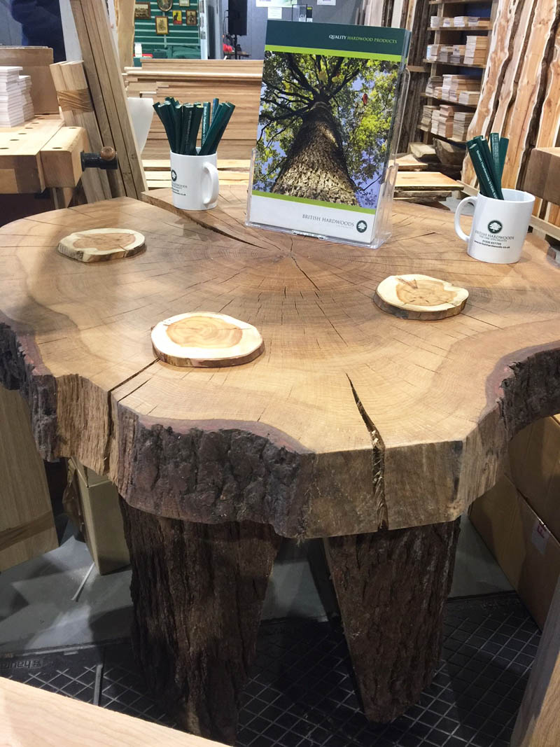 Our beautiful oak table made by Tony for the show