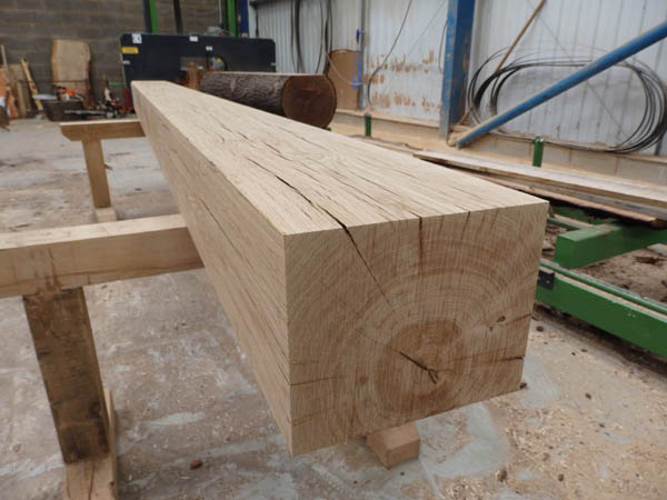 Hand planed air dried oak beam