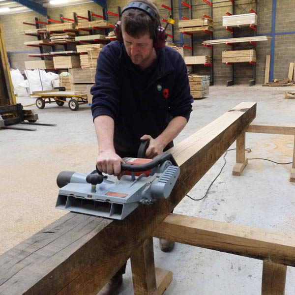 Jason hand planing an air dried oak beam