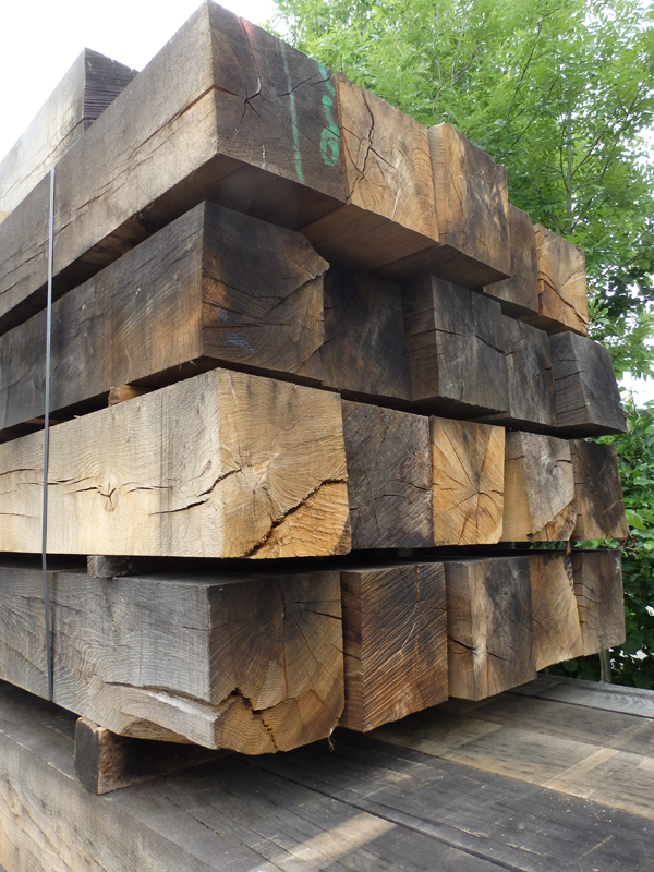 Stock of our sawn air dried oak beams