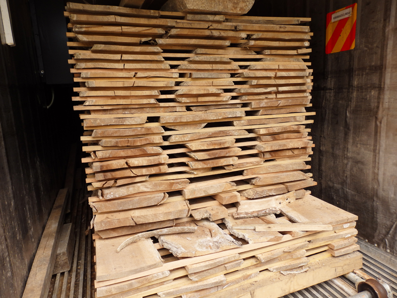 Our native hardwood boards ready for unloading