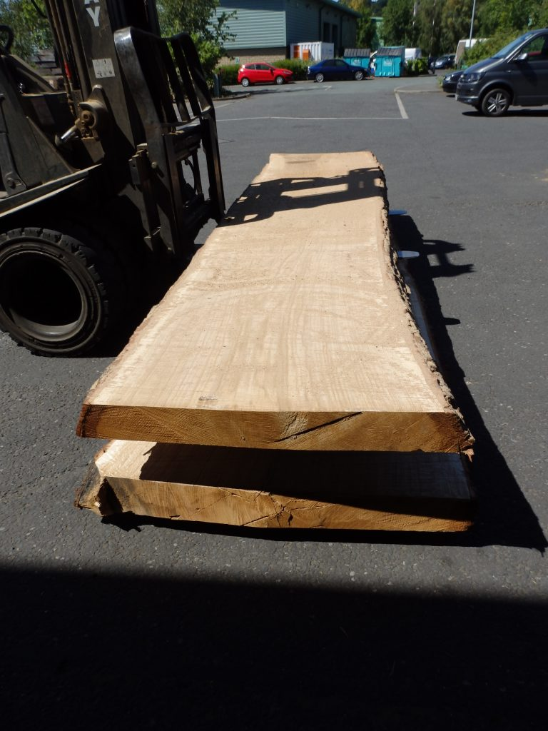 "Oak log planks at 4"" thick"