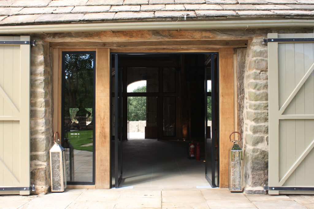 Air dried oak beams used at the front entrance of Tithe Barn