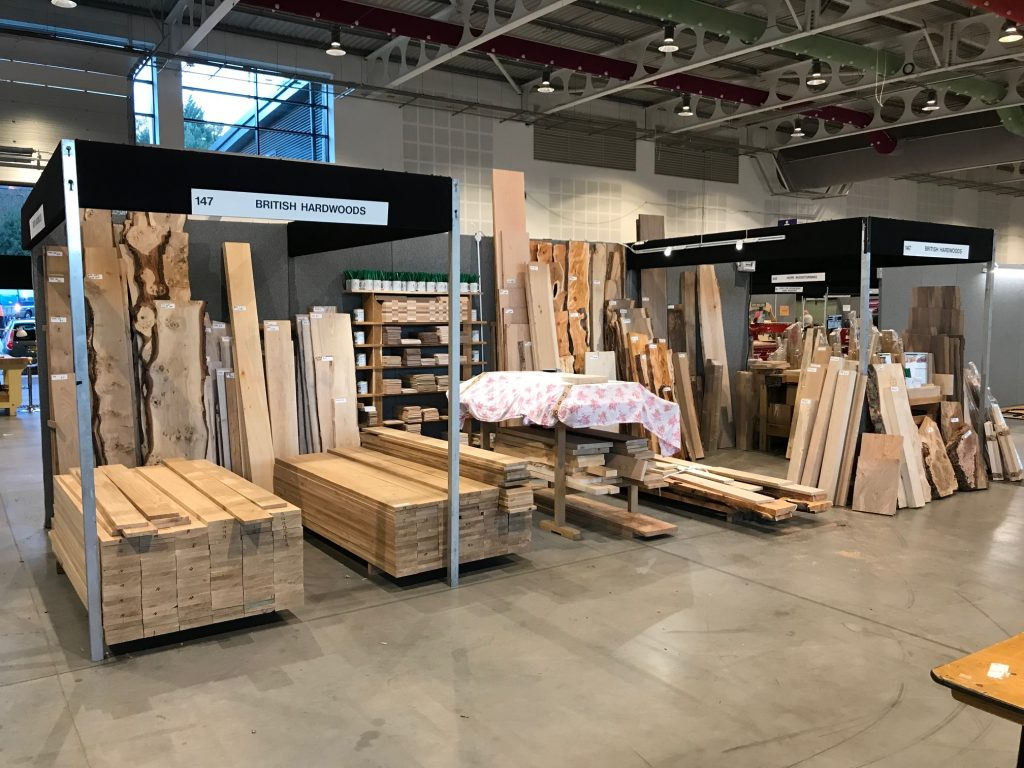 Preparing the British Hardwoods Stand at the North of England Woodworking Show 2018