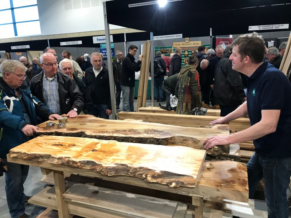 Stunning Yew and Burr Elm boards from British Hardwoods at the North of England Woodworking Show 2018