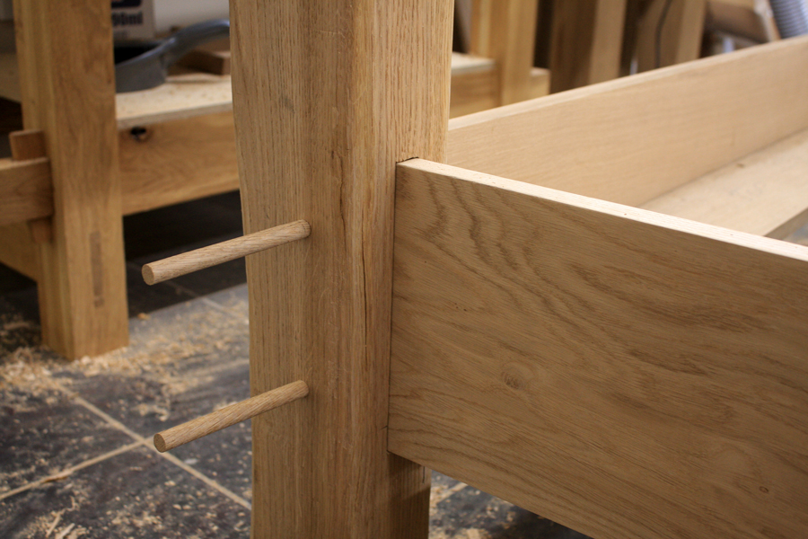 Draw peg mortise and tenon