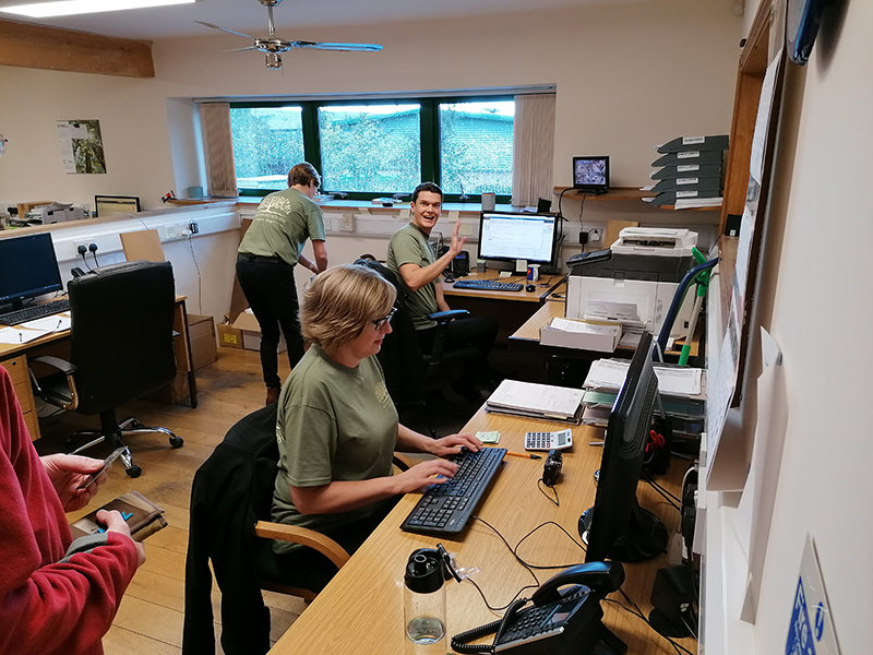 The British Hardwoods Office Team busy attending to the timber sale customers