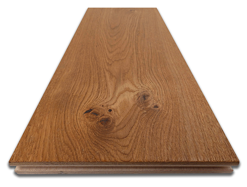 The floorboards comprise a generous 5mm real oak top layer, which has been fumed, distressed and oiled