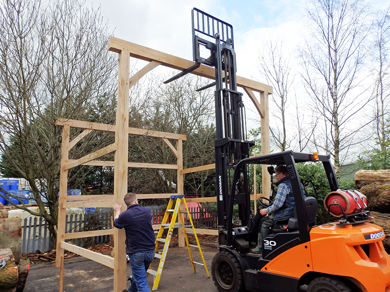 The forklift finishes the job off nicely - pushing the front framework into place